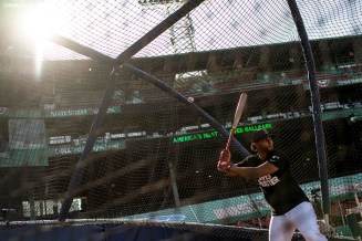 BOSTON, MA - JULY 27: Xander Bogaerts #2 of the Boston Red Sox takes batting practice before a game against the New York Mets on July 27, 2020 at Fenway Park in Boston, Massachusetts. The 2020 season had been postponed since March due to the COVID-19 pandemic. (Photo by Billie Weiss/Boston Red Sox/Getty Images) *** Local Caption *** Xander Bogaerts