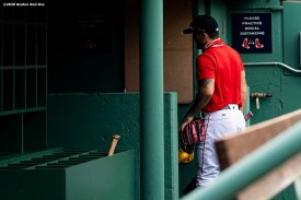 BOSTON, MA - AUGUST 7: Michael Chavis #23 of the Boston Red Sox walks into the dugout before a game against the Toronto Blue Jays on August 7, 2020 at Fenway Park in Boston, Massachusetts. The 2020 season had been postponed since March due to the COVID-19 pandemic. (Photo by Billie Weiss/Boston Red Sox/Getty Images) *** Local Caption *** Michael Chavis