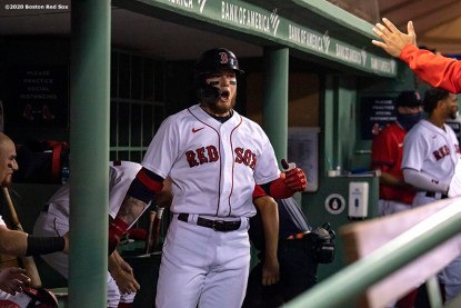 BOSTON, MA - AUGUST 7: Alex Verdugo #99 of the Boston Red Sox reacts after hitting a solo home run during the second inning of a game against the Toronto Blue Jays on August 7, 2020 at Fenway Park in Boston, Massachusetts. The 2020 season had been postponed since March due to the COVID-19 pandemic. (Photo by Billie Weiss/Boston Red Sox/Getty Images) *** Local Caption *** Alex Verdugo