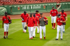 BOSTON, MA - AUGUST 9: Members of the Boston Red Sox bullpen walk toward the bullpen before a game against the Toronto Blue Jays on August 9, 2020 at Fenway Park in Boston, Massachusetts. The 2020 season had been postponed since March due to the COVID-19 pandemic. (Photo by Billie Weiss/Boston Red Sox/Getty Images) *** Local Caption ***