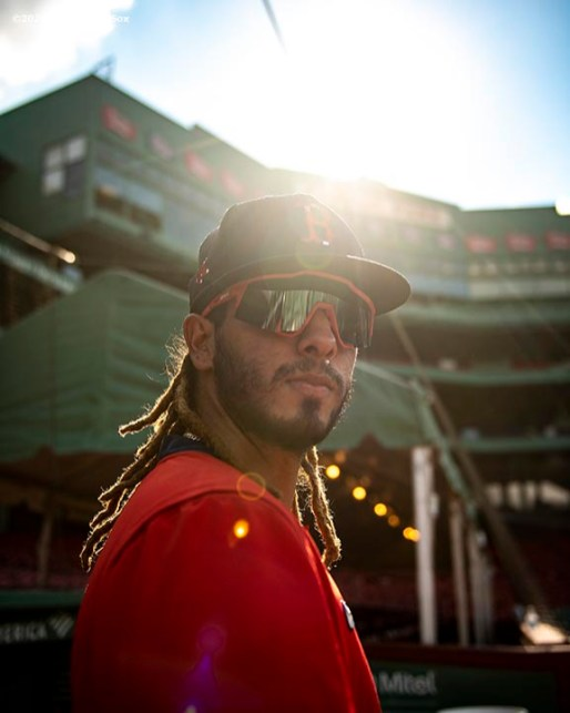 BOSTON, MA - AUGUST 10: Jonathan Arauz #36 of the Boston Red Sox poses for a portrait before a game against the Tampa Bay Rays on August 10, 2020 at Fenway Park in Boston, Massachusetts. The 2020 season had been postponed since March due to the COVID-19 pandemic. (Photo by Billie Weiss/Boston Red Sox/Getty Images) *** Local Caption *** Jonathan Arauz