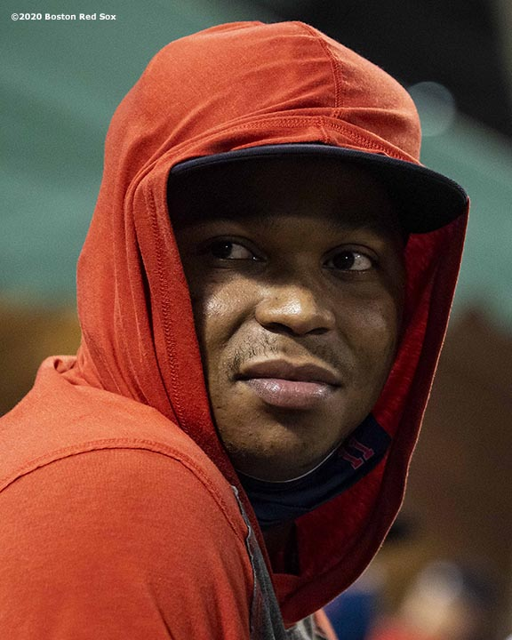 BOSTON, MA - AUGUST 11: Rafael Devers #11 of the Boston Red Sox reacts during the ninth inning of a game against the Tampa Bay Rays on August 11, 2020 at Fenway Park in Boston, Massachusetts. The 2020 season had been postponed since March due to the COVID-19 pandemic. (Photo by Billie Weiss/Boston Red Sox/Getty Images) *** Local Caption *** Rafael Devers