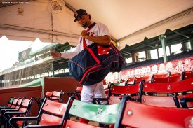 BOSTON, MA - AUGUST 19: Xander Bogaerts #2 of the Boston Red Sox walks toward the field before a game against the Philadelphia Phillies on August 19, 2020 at Fenway Park in Boston, Massachusetts. The 2020 season had been postponed since March due to the COVID-19 pandemic. (Photo by Billie Weiss/Boston Red Sox/Getty Images) *** Local Caption *** Xander Bogaerts
