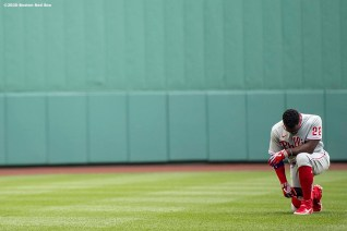 BOSTON, MA - AUGUST 19: Andrew McCutchen #22 of the Philadelphia Phillies pauses before a game against the Boston Red Sox on August 19, 2020 at Fenway Park in Boston, Massachusetts. The 2020 season had been postponed since March due to the COVID-19 pandemic. (Photo by Billie Weiss/Boston Red Sox/Getty Images) *** Local Caption *** Andrew McCutchen