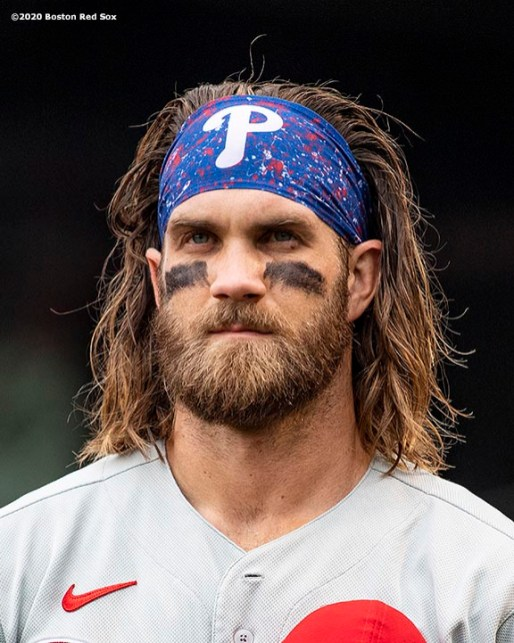 BOSTON, MA - AUGUST 19: Bryce Harper #3 of the Philadelphia Phillies looks on before a game against the Boston Red Sox on August 19, 2020 at Fenway Park in Boston, Massachusetts. The 2020 season had been postponed since March due to the COVID-19 pandemic. (Photo by Billie Weiss/Boston Red Sox/Getty Images) *** Local Caption *** Bryce Harper