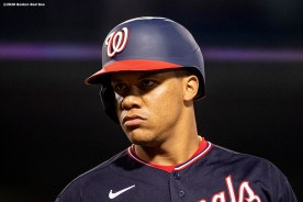 BOSTON, MA - AUGUST 28: Juan Soto #22 of the Washington Nationals reacts during the eighth inning of a game against the Boston Red Sox on August 28, 2020 at Fenway Park in Boston, Massachusetts. The 2020 season had been postponed since March due to the COVID-19 pandemic. (Photo by Billie Weiss/Boston Red Sox/Getty Images) *** Local Caption *** Juan Soto