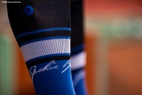 BOSTON, MA - AUGUST 28: Special edition Stance socks are displayed in recognition of Jackie Robinson day before a game between the Boston Red Sox and the Washington Nationals on August 28, 2020 at Fenway Park in Boston, Massachusetts. The 2020 season had been postponed since March due to the COVID-19 pandemic. (Photo by Billie Weiss/Boston Red Sox/Getty Images) *** Local Caption ***