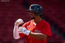BOSTON, MA - AUGUST 30: Xander Bogaerts #2 of the Boston Red Sox reacts after hitting a two run home run during the first inning of a game against the Washington Nationals on August 30, 2020 at Fenway Park in Boston, Massachusetts. The 2020 season had been postponed since March due to the COVID-19 pandemic. (Photo by Billie Weiss/Boston Red Sox/Getty Images) *** Local Caption *** Xander Bogaerts