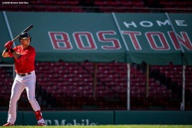 BOSTON, MA - AUGUST 30: Bobby Dalbec #29 of the Boston Red Sox bats in his Major League Debut during the third inning of a game against the Washington Nationals on August 30, 2020 at Fenway Park in Boston, Massachusetts. The 2020 season had been postponed since March due to the COVID-19 pandemic. (Photo by Billie Weiss/Boston Red Sox/Getty Images) *** Local Caption *** Bobby Dalbec