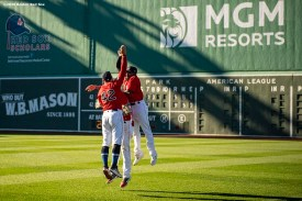 BOSTON, MA - AUGUST 30: Kevin Pillar #5, Alex Verdugo #99, and Jackie Bradley Jr. #19 of the Boston Red Sox celebrate a victory against the Washington Nationals on August 30, 2020 at Fenway Park in Boston, Massachusetts. The 2020 season had been postponed since March due to the COVID-19 pandemic. (Photo by Billie Weiss/Boston Red Sox/Getty Images) *** Local Caption *** Kevin Pillar; Alex Verdugo; Jackie Bradley Jr.