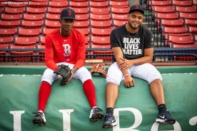 BOSTON, MA - AUGUST 31: Phillips Valdez #71 and Darwinzon Hernandez #63 of the Boston Red Sox pose for a portrait before a game against the Atlanta Braves on August 31, 2020 at Fenway Park in Boston, Massachusetts. The 2020 season had been postponed since March due to the COVID-19 pandemic. (Photo by Billie Weiss/Boston Red Sox/Getty Images) *** Local Caption *** Phillips Valdez; Darwinzon Hernandez