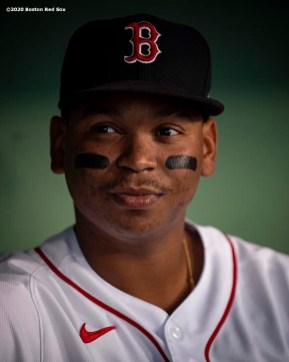 BOSTON, MA - SEPTEMBER 1: Rafael Devers #11 of the Boston Red Sox looks on before a game against the Atlanta Braves on September 1, 2020 at Fenway Park in Boston, Massachusetts. The 2020 season had been postponed since March due to the COVID-19 pandemic. (Photo by Billie Weiss/Boston Red Sox/Getty Images) *** Local Caption *** Rafael Devers
