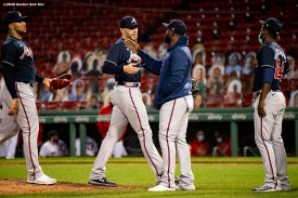 BOSTON, MA - SEPTEMBER 1:Members of the Atlanta Braves celebrate a victory against the Boston Red Sox on September 1, 2020 at Fenway Park in Boston, Massachusetts. The 2020 season had been postponed since March due to the COVID-19 pandemic. (Photo by Billie Weiss/Boston Red Sox/Getty Images) *** Local Caption ***