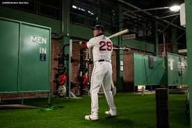BOSTON, MA - SEPTEMBER 2: Bobby Dalbec #29 of the Boston Red Sox warms up in the auxiliary concourse batting cage before a game against the Atlanta Braves on September 2, 2020 at Fenway Park in Boston, Massachusetts. The 2020 season had been postponed since March due to the COVID-19 pandemic. (Photo by Billie Weiss/Boston Red Sox/Getty Images) *** Local Caption *** Bobby Dalbec
