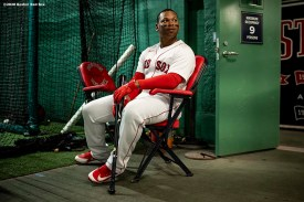 BOSTON, MA - SEPTEMBER 2: Rafael Devers #11 of the Boston Red Sox looks on in the batting cage before a game against the Atlanta Braves on September 2, 2020 at Fenway Park in Boston, Massachusetts. The 2020 season had been postponed since March due to the COVID-19 pandemic. (Photo by Billie Weiss/Boston Red Sox/Getty Images) *** Local Caption *** Rafael Devers