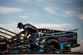 JB Fortin, driver of the #34 Johns Tree Removal/Johns Fuel Oil/Whip City Jerky Chevrolet pushes the car into the garage during the Thompson 150 for the NASCAR Whelen Modified Tour at Thompson Speedway Motorsports Park in Thompson, Connecticut on September 3, 2020. (Billie Weiss/NASCAR)