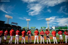 BOSTON, MA - SEPTEMBER 4: Members of the Boston Red Sox line up as the National Anthem is played before a game against the Toronto Blue Jays on September 4, 2020 at Fenway Park in Boston, Massachusetts. The 2020 season had been postponed since March due to the COVID-19 pandemic. (Photo by Billie Weiss/Boston Red Sox/Getty Images) *** Local Caption ***