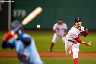 BOSTON, MA - SEPTEMBER 4: Chris Mazza #22 of the Boston Red Sox delivers during the third inning of a game against the Toronto Blue Jays on September 4, 2020 at Fenway Park in Boston, Massachusetts. The 2020 season had been postponed since March due to the COVID-19 pandemic. (Photo by Billie Weiss/Boston Red Sox/Getty Images) *** Local Caption *** Chris Mazza