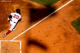BOSTON, MA - SEPTEMBER 6: Michael Chavis #23 of the Boston Red Sox hits a double during the fourth inning of a game against the Toronto Blue Jays on September 6, 2020 at Fenway Park in Boston, Massachusetts. The 2020 season had been postponed since March due to the COVID-19 pandemic. (Photo by Billie Weiss/Boston Red Sox/Getty Images) *** Local Caption *** Michael Chavis