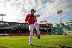 BOSTON, MA - SEPTEMBER 18: Tanner Houck #89 of the Boston Red Sox warms up before a game against the New York Yankees on September 18, 2020 at Fenway Park in Boston, Massachusetts. The 2020 season had been postponed since March due to the COVID-19 pandemic. (Photo by Billie Weiss/Boston Red Sox/Getty Images) *** Local Caption *** Tanner Houck