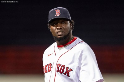 BOSTON, MA - SEPTEMBER 19: Domingo Tapia #66 of the Boston Red Sox reacts during the seventh inning of a game against the New York Yankees on September 19, 2020 at Fenway Park in Boston, Massachusetts. The 2020 season had been postponed since March due to the COVID-19 pandemic. (Photo by Billie Weiss/Boston Red Sox/Getty Images) *** Local Caption *** Domingo Tapia