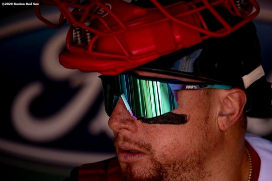 BOSTON, MA - SEPTEMBER 20: Christian Vazquez #7 of the Boston Red Sox looks on before a game against the New York Yankees on September 20, 2020 at Fenway Park in Boston, Massachusetts. The 2020 season had been postponed since March due to the COVID-19 pandemic. (Photo by Billie Weiss/Boston Red Sox/Getty Images) *** Local Caption *** Christian Vazquez