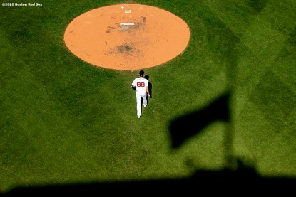 BOSTON, MA - SEPTEMBER 20: Tanner Houck #89 of the Boston Red Sox walks toward the mound during the sixth inning of a game against the New York Yankees on September 20, 2020 at Fenway Park in Boston, Massachusetts. It was his debut at Fenway Park. The 2020 season had been postponed since March due to the COVID-19 pandemic. (Photo by Billie Weiss/Boston Red Sox/Getty Images) *** Local Caption *** Tanner Houck