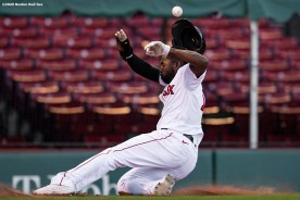 BOSTON, MA - SEPTEMBER 20: Jackie Bradley Jr. #19 of the Boston Red Sox slides as he scores during the seventh inning of a game against the New York Yankees on September 20, 2020 at Fenway Park in Boston, Massachusetts. The 2020 season had been postponed since March due to the COVID-19 pandemic. (Photo by Billie Weiss/Boston Red Sox/Getty Images) *** Local Caption *** Jackie Bradley Jr.