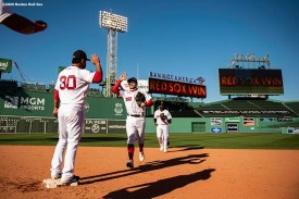 BOSTON, MA - SEPTEMBER 20: Michael Chavis #23 of the Boston Red Sox celebrates a victory against the New York Yankees on September 20, 2020 at Fenway Park in Boston, Massachusetts. The 2020 season had been postponed since March due to the COVID-19 pandemic. (Photo by Billie Weiss/Boston Red Sox/Getty Images) *** Local Caption *** Michael Chavis