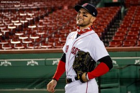 BOSTON, MA - SEPTEMBER 22: Michael Chavis #23 of the Boston Red Sox reacts before a game against the Baltimore Orioles on September 22, 2020 at Fenway Park in Boston, Massachusetts. The 2020 season had been postponed since March due to the COVID-19 pandemic. (Photo by Billie Weiss/Boston Red Sox/Getty Images) *** Local Caption *** Michael Chavis