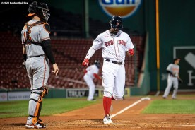 BOSTON, MA - SEPTEMBER 23: Xander Bogaerts #2 of the Boston Red Sox scores during the first inning of a game against the Baltimore Orioles on September 23, 2020 at Fenway Park in Boston, Massachusetts. The 2020 season had been postponed since March due to the COVID-19 pandemic. (Photo by Billie Weiss/Boston Red Sox/Getty Images) *** Local Caption *** Xander Bogaerts