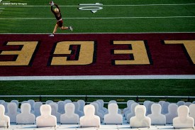 CHESTNUT HILL, MA - SEPTEMBER 26: Hunter Long #80 of the Boston College Eagles warms up before a game against the Texas State Bobcats at Alumni Stadium on September 26, 2020 in Chestnut Hill, Massachusetts. (Photo by Billie Weiss/Getty Images) *** Local Caption *** Hunter Long