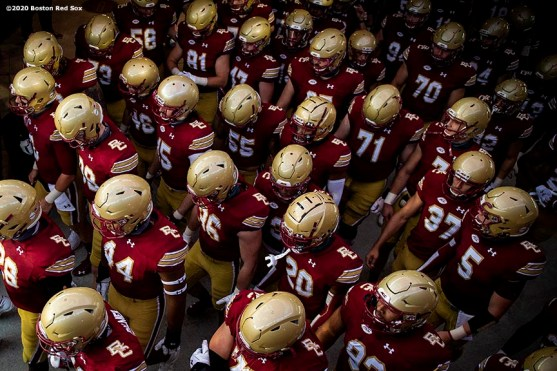 CHESTNUT HILL, MA - SEPTEMBER 26: Members of the Boston College Eagles walk through the tunnel before a game against the Texas State Bobcats at Alumni Stadium on September 26, 2020 in Chestnut Hill, Massachusetts. (Photo by Billie Weiss/Getty Images) *** Local Caption ***