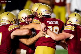 CHESTNUT HILL, MA - SEPTEMBER 26: Aaron Boumehri #41 of the Boston College Eagles celebrates with teammates after kicking the game winning field goal during the second half of a game against the Texas State Bobcats at Alumni Stadium on September 26, 2020 in Chestnut Hill, Massachusetts. (Photo by Billie Weiss/Getty Images) *** Local Caption *** Aaron Boumehri