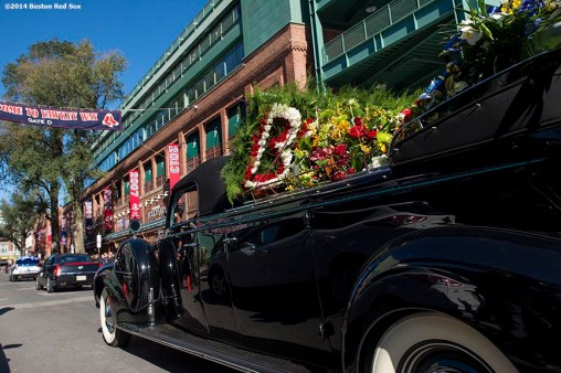 """The funeral procession for former Boston Mayor Thomas Menino passes by Fenway Park in Boston, Massachusetts Monday, November 3, 2014."""