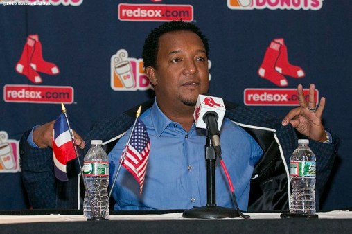 """Former Boston Red Sox pitcher Pedro Martinez addresses the media during a press conference after being informed that he was inducted into the Major League Baseball Hall of Fame at Fenway Park in Boston, Massachusetts Tuesday, January 6, 2015."""