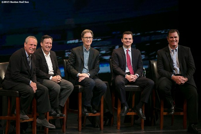 """Boston Red Sox President & CEO Larry Lucchino, Chairman Tom Werner, Principal Owner John Henry, General Manager Ben Cherington, and Manager John Farrell speak at the fifth annual NESN Town Hall during the Red Sox Winter Weekend at Foxwoods Resort and Casino in Ledyard, Connecticut Friday, January 23, 2015."""