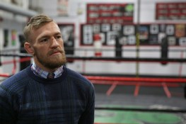 BOSTON, MA - JANUARY 09: UFC fighter Conor McGregor speaks during a community event at Peter Welch's Gym on January 9, 2015 in Boston, Massachusetts. (Photo by Billie Weiss/Zuffa LLC/Zuffa LLC via Getty Images)