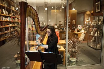"""A musician plays during a capital campaign fundraiser event at the Isabella Stewart Gardner Museum in Boston, Massachusetts Saturday, January 31, 2015."""
