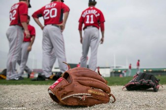 """Boston Red Sox pitchers warm up during a team workout at JetBlue Park in Fort Myers, Florida Thursday, February 26, 2015."""