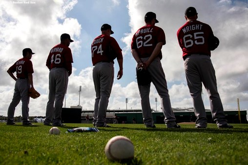 """Boston Red Sox pitchers line up during a team workout at JetBlue Park in Fort Myers, Florida Monday, March 2, 2015."""