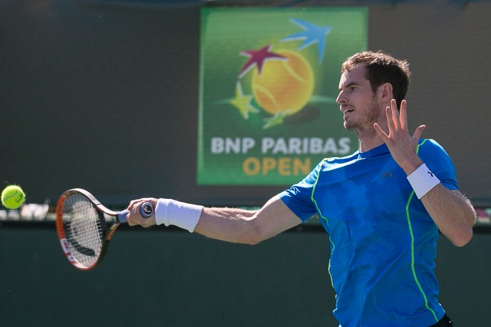 """""""Wells, California: Andy Murray hits a forehand during a practice session at the Indian Wells Tennis Garden in Indian Wells, California Tuesday, March 10, 2015."""""""