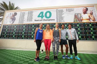 """Ana Ivanovic, Caroline Wozniacki, Maria Sharapova, Rafael Nadal, and Roger Federer pose for a picture commemorating 40 years of champions at the Indian Wells Tennis Garden in Indian Wells, California Tuesday, March 11, 2015."""