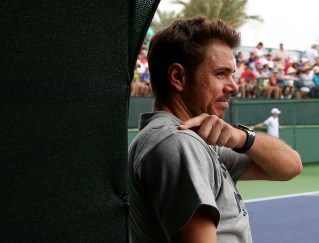"""Stan Wawrinka looks on before a practice session at the Indian Wells Tennis Garden in Indian Wells, California Tuesday, March 11, 2015."""