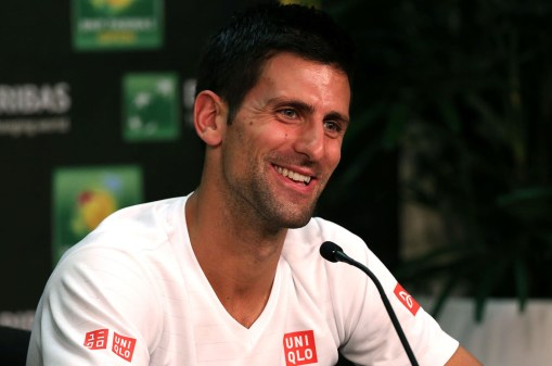"""Novak Djokovic speaks to the press at the Indian Wells Tennis Garden in Indian Wells, California Tuesday, March 12, 2015."""