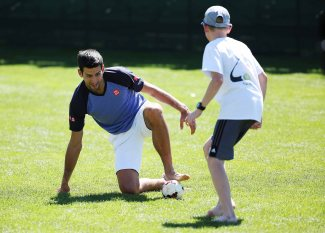 """Novak Djokovic plays soccer at the Indian Wells Tennis Garden in Indian Wells, California Tuesday, March 12, 2015."""