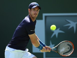 """A semifinal match between Novak Djokovic and Andy Murray on Stadium 1 at the 2015 BNP Paribas Open in Indian Wells, California on Saturday, March 21, 2015."""