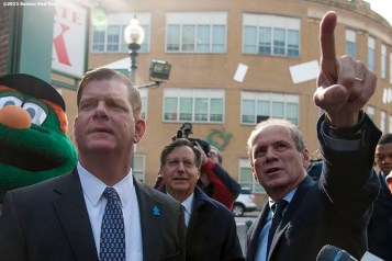 """Boston Red Sox President & CEO Larry Lucchino and Chairman Tom Werner point out the new additions to Fenway Park to Boston Mayor Marty Walsh during a walk through of Fenway Park in Boston, Massachusetts Monday, April 6, 2015."""