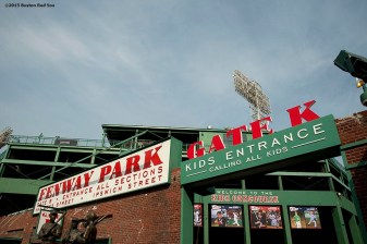 """A sign in the Gate K Kids Concourse is shown at Fenway Park in Boston, Massachusetts Monday, April 6, 2015."""