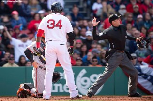 """Boston Red Sox designated hitter David Ortiz is ejected from the game during the fifth inning of a game against the Baltimore Orioles at Fenway Park in Boston, Massachusetts Sunday, April 19, 2015."""